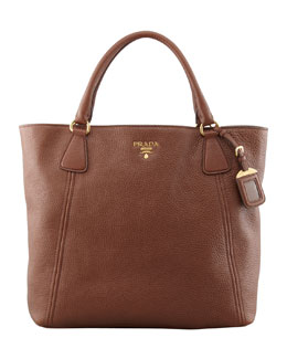 Prada Daino Snap-Top Tote Bag, Brown