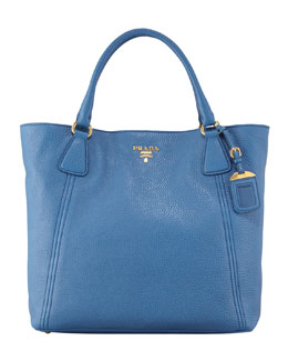 Prada Daino Snap-Top Tote Bag, Blue