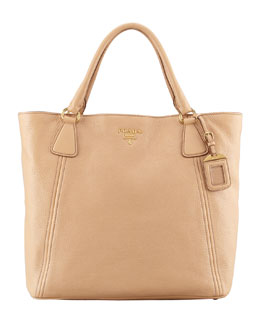 Prada Daino Snap-Top Tote Bag, Beige