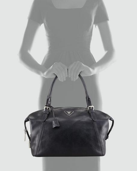 Soft Calfskin Duffel Bag, Black (Nero)