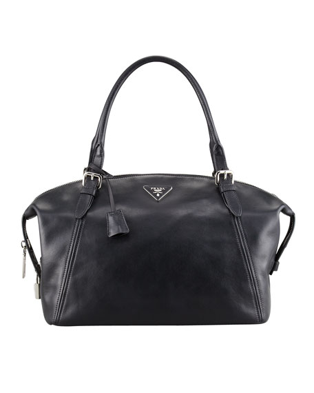 Prada Soft Calfskin Duffel Bag, Black (Nero)