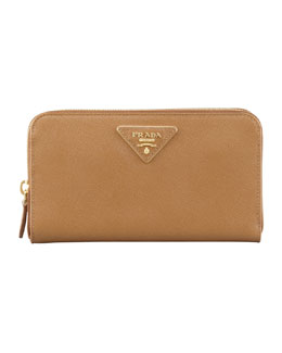 Prada Saffiano Triangle Zip-Around Wallet, Brown (Caramel)