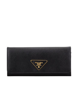 Prada Saffiano Triangle Continental Flap Wallet,  Black (Nero)