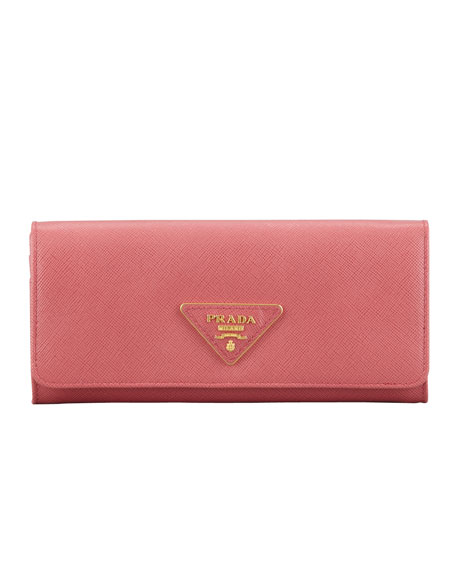 5f07f3dabe59 spain prada saffiano triangle continental flap wallet pink 8e981 0f946