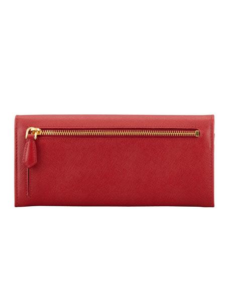 6b072c6ed79dfb Prada Saffiano Triangle Continental Flap Wallet, Red (Fuoco)