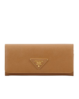Prada Saffiano Triangle Continental Flap Wallet, Brown (Caramel)