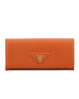 Prada Saffiano Triangle Continental Flap Wallet,  Orange (Papaya)