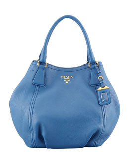 Prada Daino Medium Shoulder Tote Bag, Blue