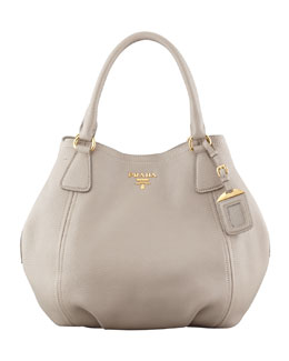 Prada Daino Medium Shoulder Tote Bag, Light Gray
