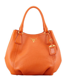 Prada Daino Medium Shoulder Tote Bag, Orange