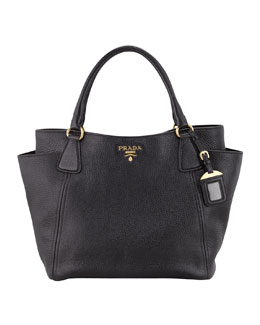 Prada Daino Side-Pocket Tote Bag, Black