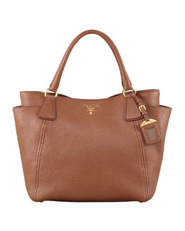 Prada Daino Side-Pocket Tote Bag, Brown