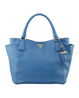 Prada Daino Side-Pocket Tote Bag, Blue