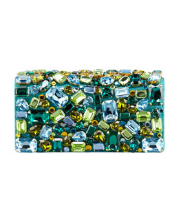 Prada Jeweled Satin Clutch Bag, Turquoise
