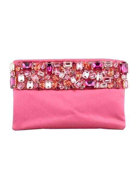 Raso Jeweled Pochette Bag, Pink (Fuxia)
