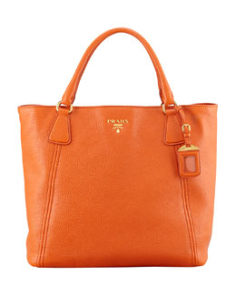 Prada Daino Snap-Top Tote Bag, Orange