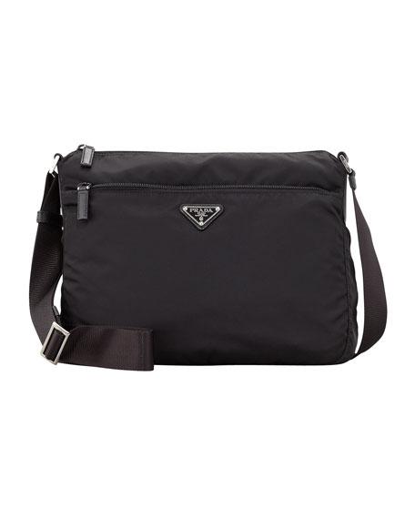 Vela Zip-Top Messenger Bag, Black (Nero)