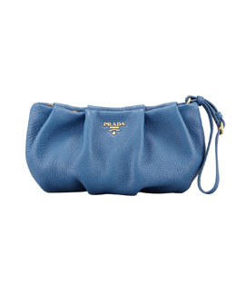 Prada Daino Pleated Wristlet Clutch Bag, Blue