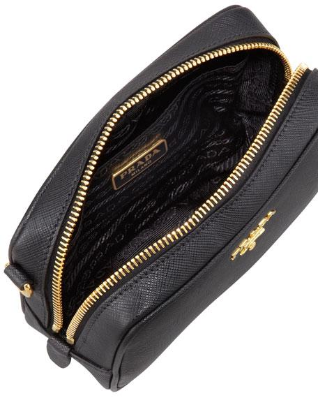 Saffiano Mini Zip Crossbody Bag, Black (Nero)