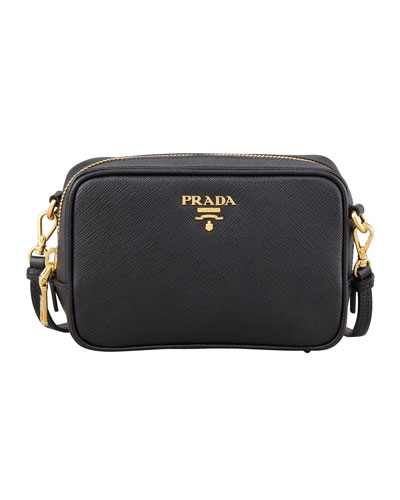 PRADA Saffiano Mini Zip Crossbody Bag, Black (Nero)