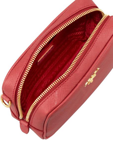 Saffiano Mini Zip Crossbody Bag, Red (Fuoco)