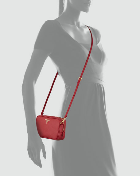 8b0804910284 Prada Saffiano Mini Zip Crossbody Bag, Red (Fuoco)