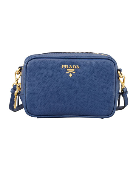 Saffiano Mini Zip Crossbody Bag, Blue (Bluette)