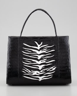 Nancy Gonzalez Zebra-Stripe A-Frame Crocodile Tote Bag, Black/White