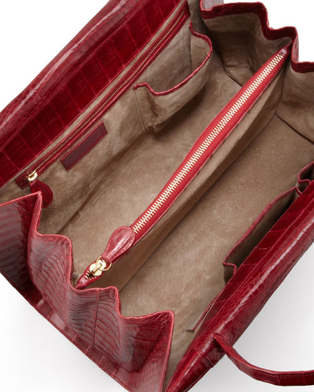 A-Frame Expandable Crocodile Tote Bag, Red