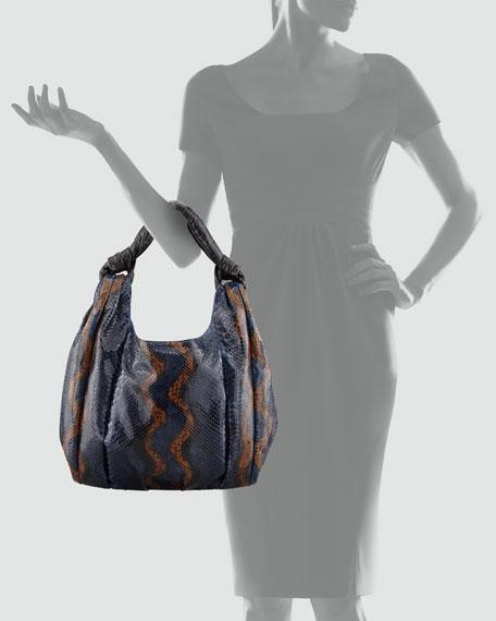 Python & Crocodile Hobo Bag, Blue/Black