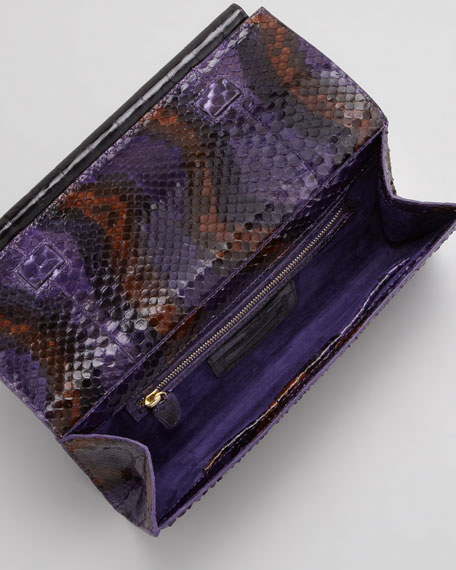 Python Front-Flap Crocodile Bar Clutch Bag, Purple