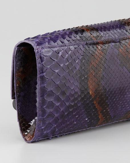 Python Front-Flap Crocodile Bar Clutch Bag, Purple