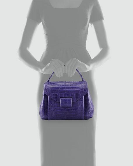 Crocodile Flap-Front Small Satchel Bag, Purple