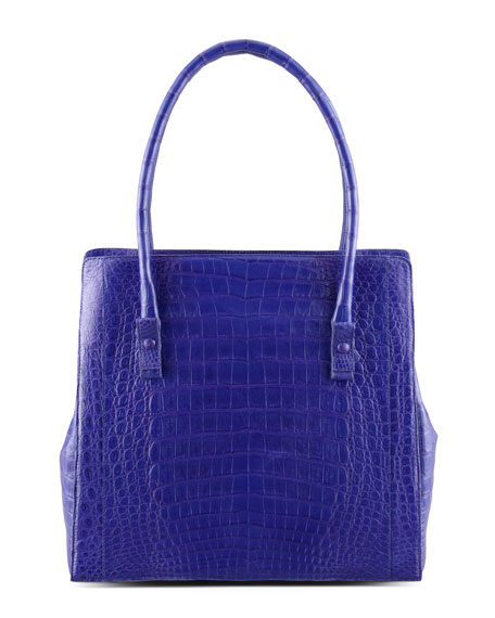 Crocodile Shoulder Tote Bag, Purple