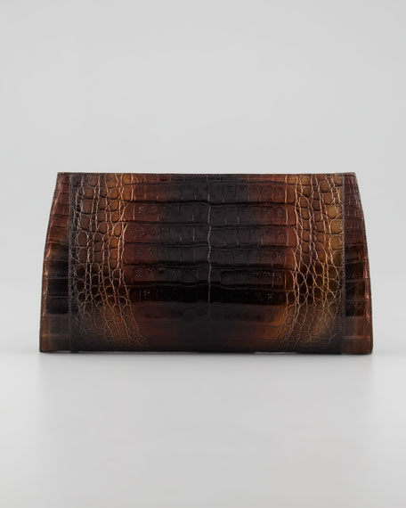 Gradient Metallic Crocodile Clutch Bag, Multi