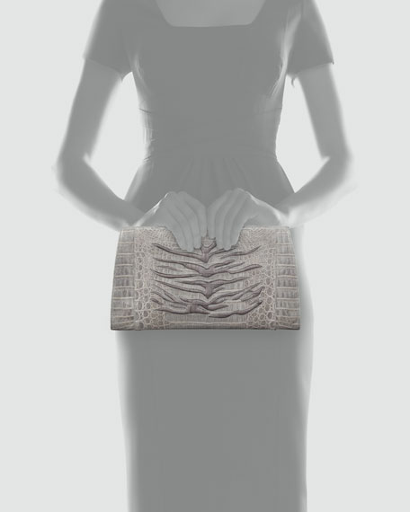 Tiger-Embossed Crocodile Clutch, Gray