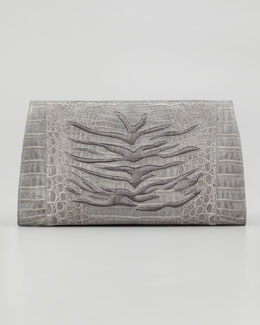 Nancy Gonzalez Tiger-Embossed Crocodile Clutch, Gray