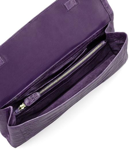 Medium Soft Flap Crocodile Clutch Bag, Purple