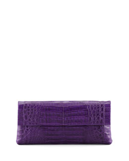 Nancy Gonzalez Medium Soft Flap Crocodile Clutch Bag, Purple