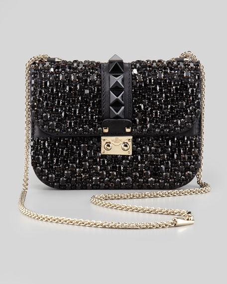Glam Lock Small Crystal-Covered Crossbody Bag, Black