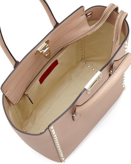 Rockstud Double-Handle Shoulder Tote Bag, Tan