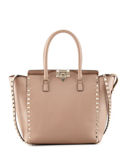 Valentino Rockstud Double-Handle Shoulder Tote Bag, Tan