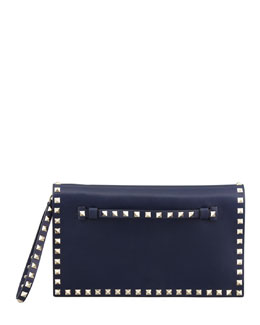 Valentino Rockstud Flap Wristlet Clutch Bag, Navy