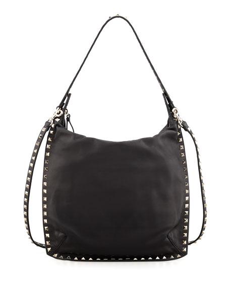 c6c7ae743e Valentino Rockstud All-Around Small Flat Hobo Bag