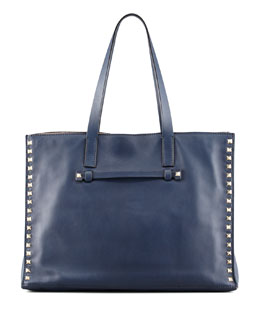 Valentino Rockstud Medium Shopping Tote Bag, Navy