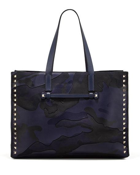 Rockstud Camo-Print East-West Tote Bag, Navy