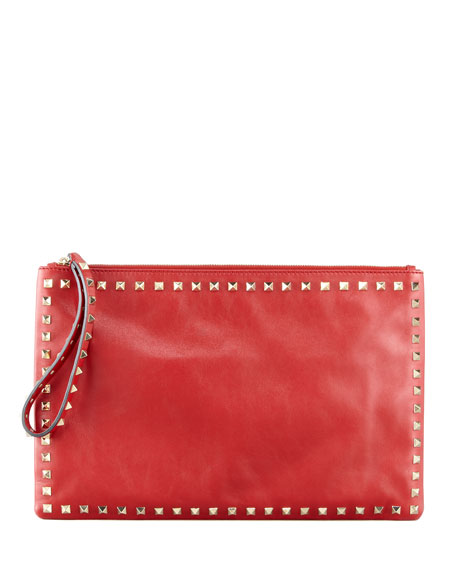 Rockstud Leather Wristlet Clutch Bag, Scarlet
