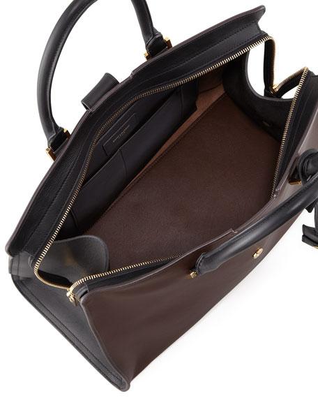 Y-Ligne Large Bicolor Carryall Bag, Brown/Black