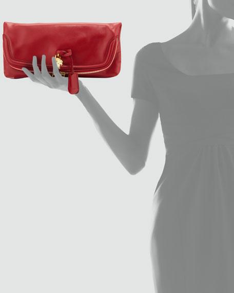 Skull Padlock Fold-Over Clutch Bag, Ruby