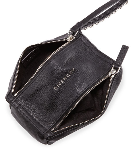 Pandora Leather Wristlet Pouch Bag, Black